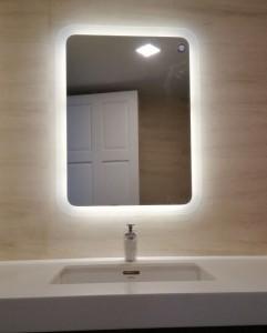 Gương đèn led phun cát ngoài bo góc 600x800mm