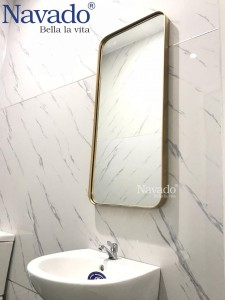 Gương nhà tắm khung viền inox bo góc